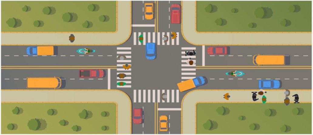 urban intersection.