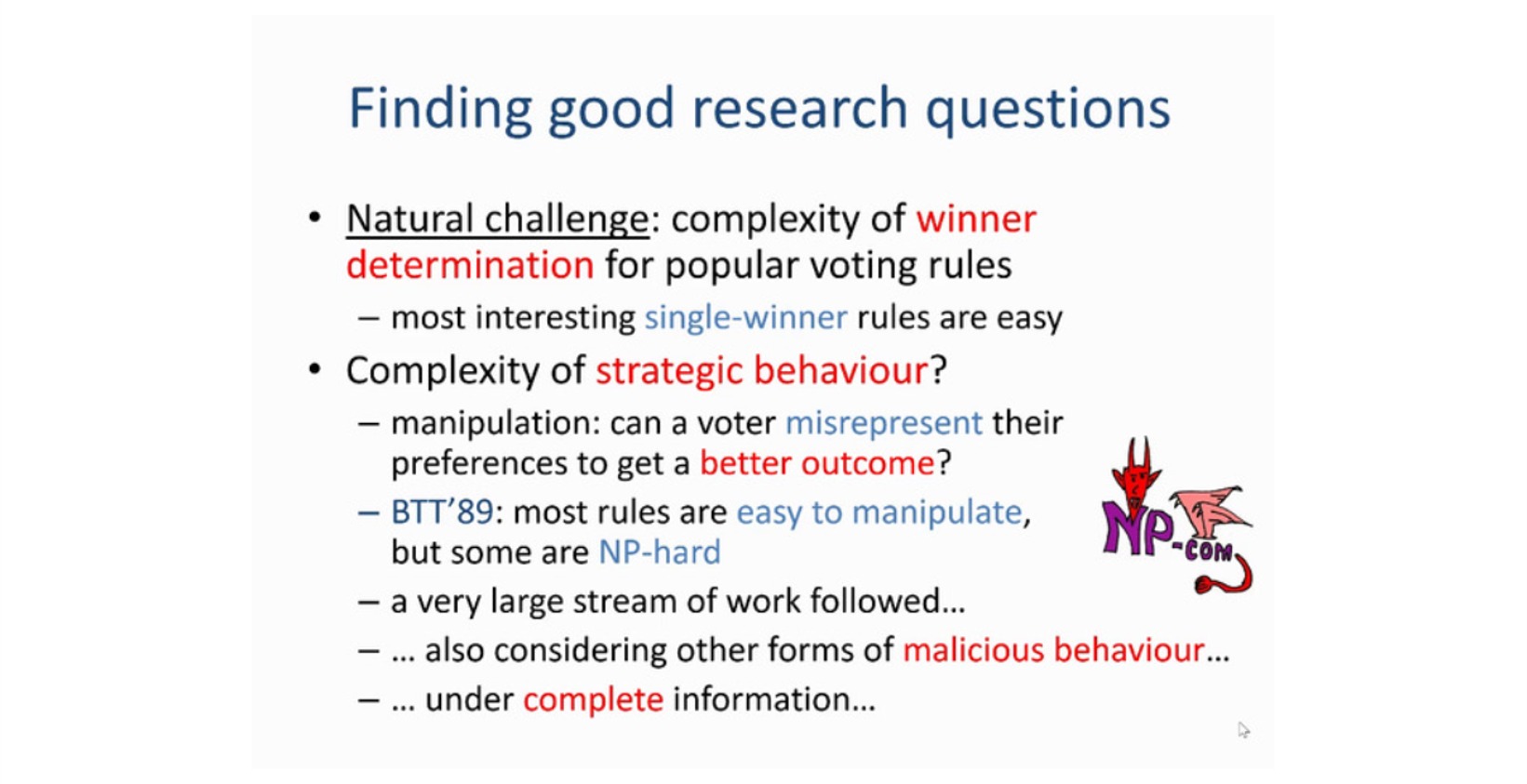 Slide from Edith Elkind talk